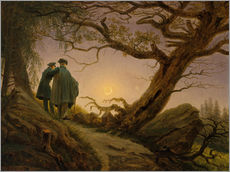 Självhäftande poster  Two men contemplating the moon - Caspar David Friedrich