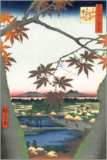 Självhäftande poster  The Maple Trees at Mama, Tekona Shrine and Tsugi Bridge - Utagawa Hiroshige