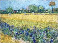 Självhäftande poster  View of Arles with irises in the foreground - Vincent van Gogh