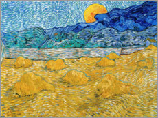 PVC-tavla  Evening landscape with rising moon - Vincent van Gogh