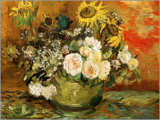 Galleritryck  Roses and sunflowers - Vincent van Gogh