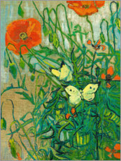Galleritryck  Butterflies and poppies - Vincent van Gogh