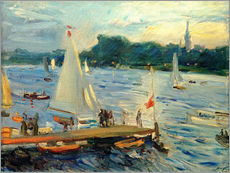 Galleritryck  Sailboats on the Alster Lake in the evening - Max Slevogt