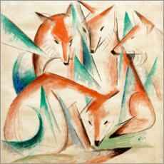 Aluminiumtavla  Four foxes - Franz Marc