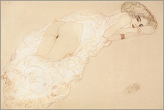 Galleritryck  Reclining Nude Lying on Her Stomach and Facing Right - Gustav Klimt