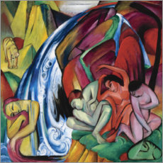 Premiumposter  The waterfall (women under a waterfall) - Franz Marc