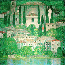 Akrylglastavla  Church in Cassone ? Landscape with Cypresses - Gustav Klimt