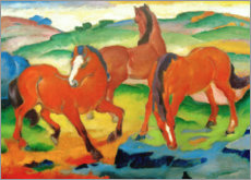 Premiumposter  Grazing horses IV (The Red Horses) - Franz Marc