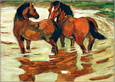 Galleritryck  Two horses in the flood - Franz Marc