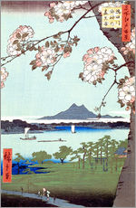 Självhäftande poster  Masaki and the Suijin Grove by the Sumida River - Utagawa Hiroshige