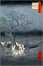 Självhäftande poster  Foxes meeting at Oji - Utagawa Hiroshige