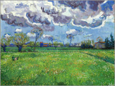 Premiumposter Meadow with flowers and leaden sky