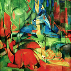 Premiumposter  Deer in the forest II - Franz Marc