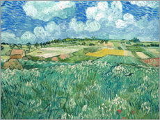 Galleritryck  Plain near Auvers sur Oise with rain clouds - Vincent van Gogh