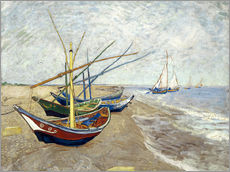 Självhäftande poster  Fishing Boats on the Beach at Saintes-Maries - Vincent van Gogh