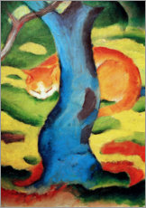 Premiumposter  Cat behind a tree - Franz Marc