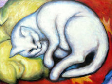 Akrylglastavla  The white cat (hangover on yellow pillow) - Franz Marc