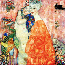 Trätavla  Girlfriends Or Two Women Friends - Gustav Klimt