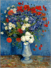 Premiumposter Vase with Cornflowers and Poppies