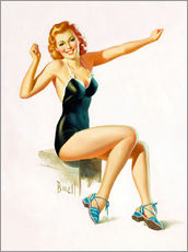 Självhäftande poster  Pin Up - Seated Redhead in Swimsuit - Al Buell