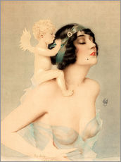 Självhäftande poster  Girl with angel - Alberto Vargas