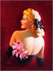 Galleritryck  Glamour Pin Up with Pink Orchids - Art Frahm