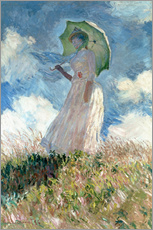 Självhäftande poster  Woman with a Parasol, facing left - Claude Monet