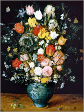 Akrylglastavla  Bouquet in a blue vase - Jan Brueghel d.Ä.