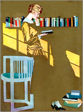 Galleritryck  Reading in front of the bookshelf - Clarence Coles Phillips