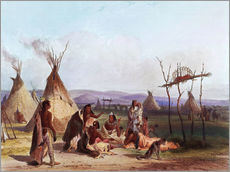 Galleritryck  Funeral scaffold of a Sioux chief - Karl Bodmer