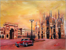 Galleritryck  Milan Cathedral with Oldtimer Convertible Alfa Romeo - M. Bleichner