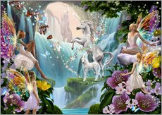 Självhäftande poster  Unicorn waterfall - Garry Walton