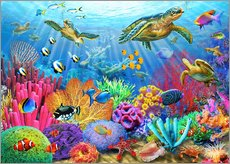 Galleritryck  Turtle Coral Reef - Adrian Chesterman