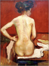Canvastavla  Back View of Sitting Female Nude with Red Background - Edvard Munch