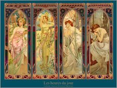 Galleritryck  Les heures du jour, nuit collage (French) - Alfons Mucha