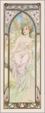 Akrylglastavla  Times of the Day - Morning Awakening - Alfons Mucha