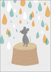 Självhäftande poster Mouse in the colorful rain