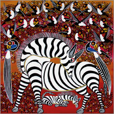 Galleritryck  Zebra with a large flock of birds - Hassani