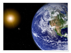 Premiumposter  Earth with water-bearing moon