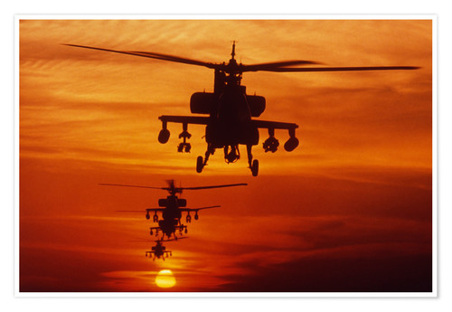Premiumposter AH-64 Apache anti-tank helicopters