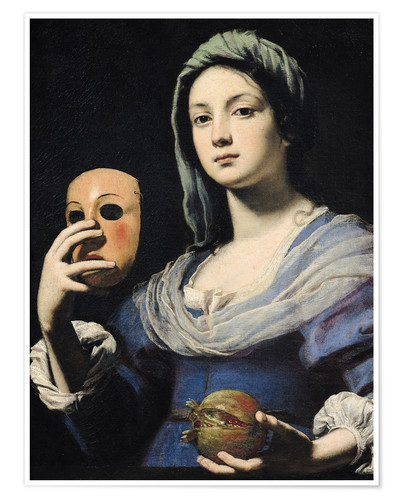 Premiumposter Woman with a Mask