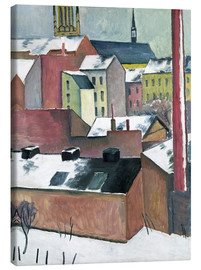 Canvastavla  The Church of St Mary in Bonn in Snow - August Macke