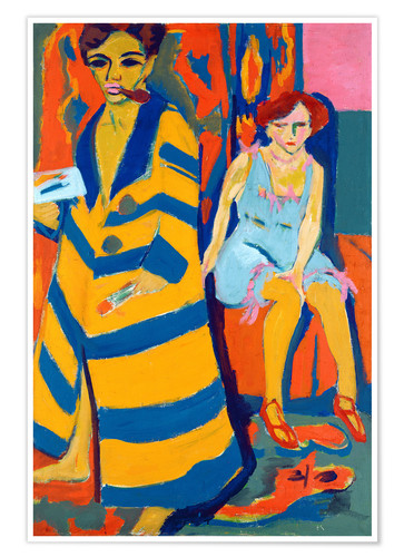 Premiumposter Ernst Ludwig Kirchner with a Model