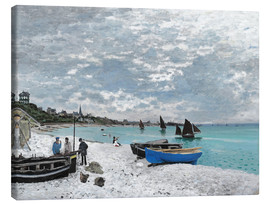 Canvastavla  The Beach at Sainte-Adresse - Claude Monet