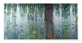 Premiumposter Waterlilies: Morning with Weeping Willows (detail)