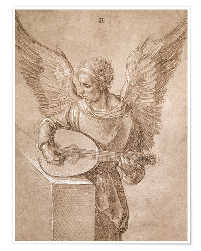 Premiumposter Angel playing a lute