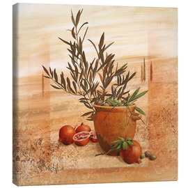 Canvastavla  Pomegranate and olive harvest - Franz Heigl