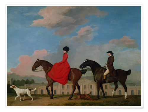 Premiumposter John and Sophia Musters riding at Colwick Hall