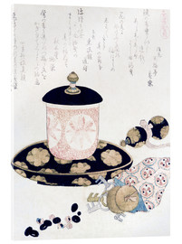 Akrylglastavla  A Pot of Tea and Keys - Katsushika Hokusai