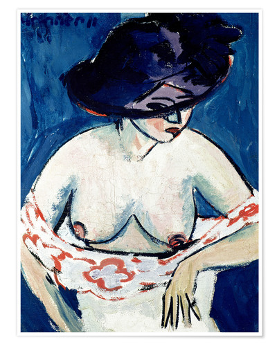 Premiumposter Half-naked woman with a hat